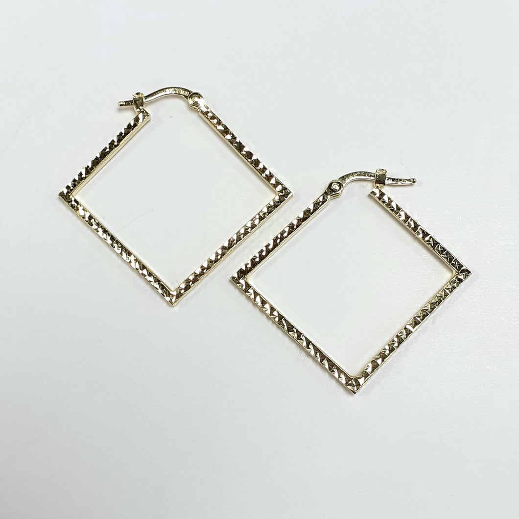 9ct Yellow Gold Hallmarked Creole Earring - Product Code - VX4