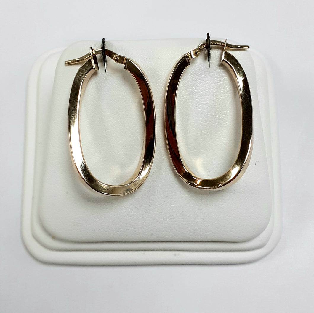 9ct Yellow Gold Hallmarked Creole Earring - Product Code - VX730