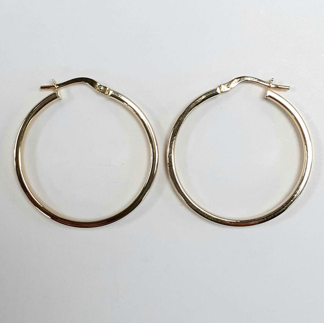 9ct Yellow Gold Hallmarked Creole Earring - Product Code - VX732