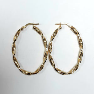 9ct Yellow Gold Hallmarked Creole Earring - Product Code - VX74