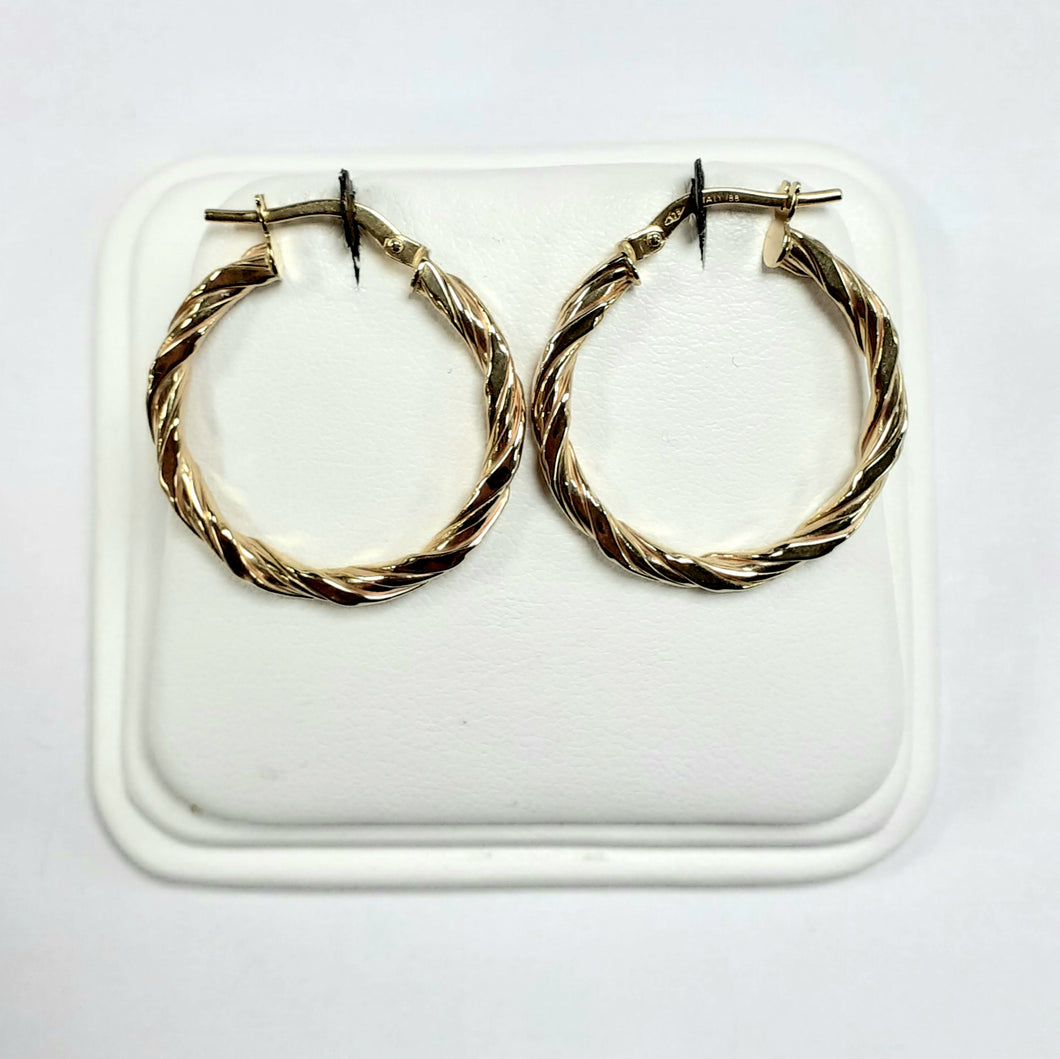 9ct Yellow Gold Hallmarked Creole Earring - Product Code - VX753