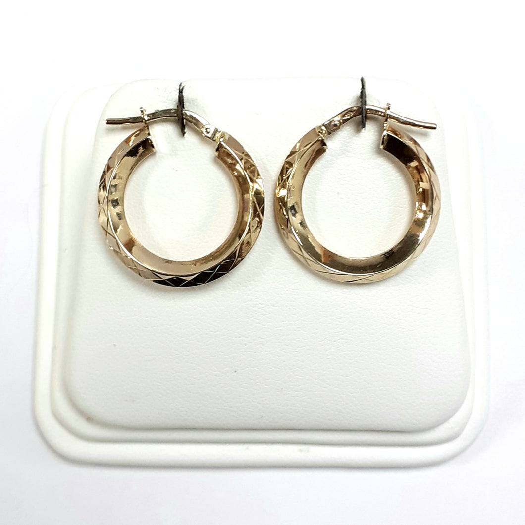 9ct Yellow Gold Hallmarked Creole Earring - Product Code - VX383