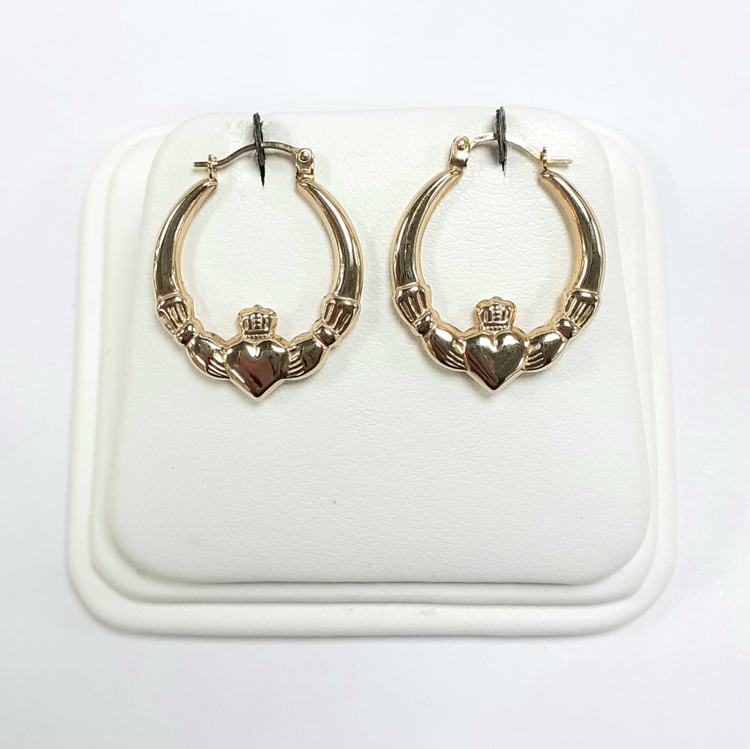 9ct Yellow Gold Hallmarked Creole Earring - Product Code - VX748