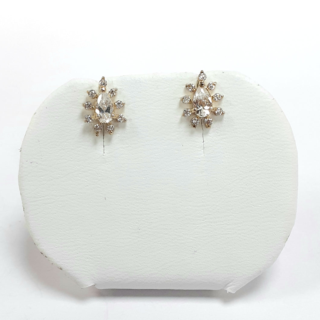 9ct Yellow Gold Hallmarked Cubic Zirconia Earrings - Product Code - BX12