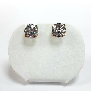 9ct Yellow Gold Hallmarked Cubic Zirconia Earrings - Product Code - VX35