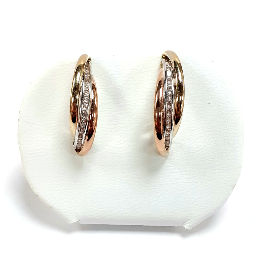 9ct Yellow Gold Hallmarked Cubic Zirconia Earrings - Product Code - VX479