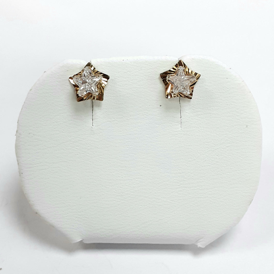 9ct Yellow Gold Hallmarked Cubic Zirconia Earrings - Product Code - VX790