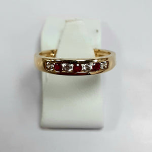 9ct Yellow Gold Hallmarked Ladies Cubic Zirconia Ring - Product Code - VX430