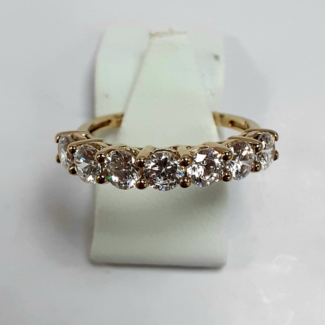 9ct Yellow Gold Hallmarked Ladies Cubic Zirconia Ring - Product Code - VX915