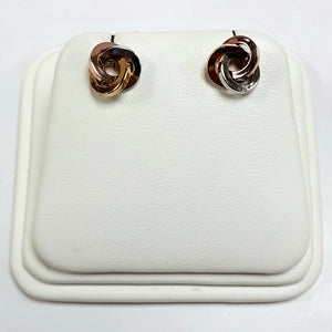 9ct Yellow White & Rose Hallmark Earrings - Product Code - VX842