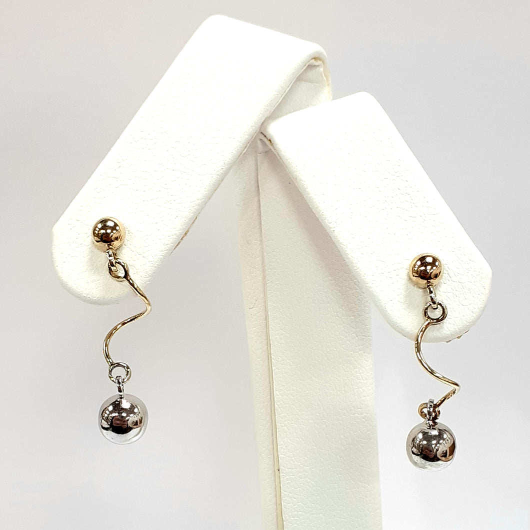 9ct Yellow & White Gold Hallmark Earrings - Product Code - C741