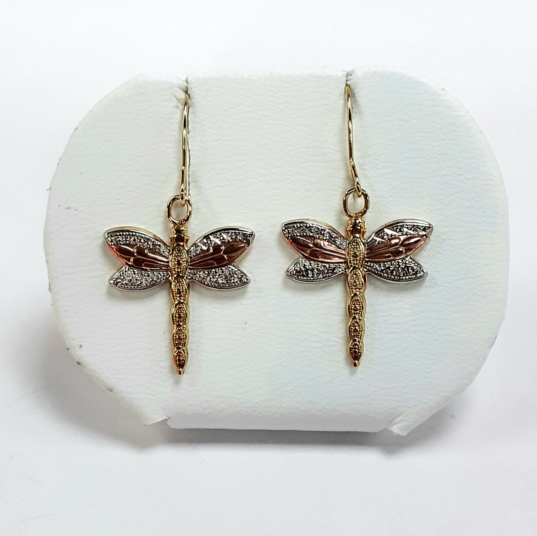 9ct Yellow White & Rose Gold Hallmark Earrings - Product Code - F204