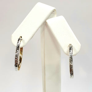9ct Yellow & White Gold Hallmark Earrings - Product Code - J394
