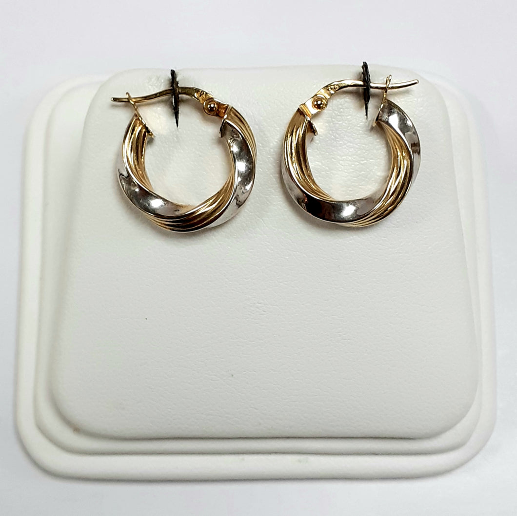 9ct Yellow & White Gold Hallmark Earrings - Product Code - VX232