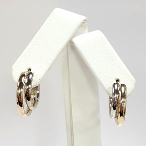 9ct Yellow & White Gold Hallmark Earrings - Product Code - VX60