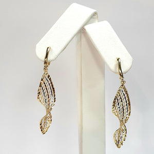 9ct Yellow & White Gold Hallmark Earrings - Product Code - VX757