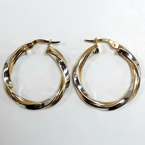 9ct Yellow & White Gold Hallmark Earrings - Product Code - VX811