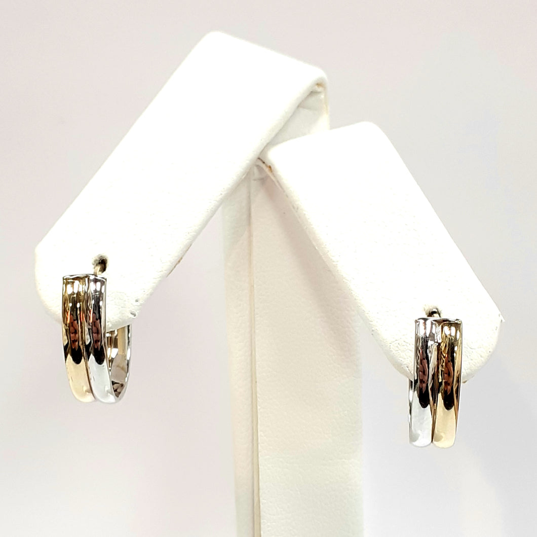 9ct Yellow & White Gold Hallmark Earrings - Product Code - VX819