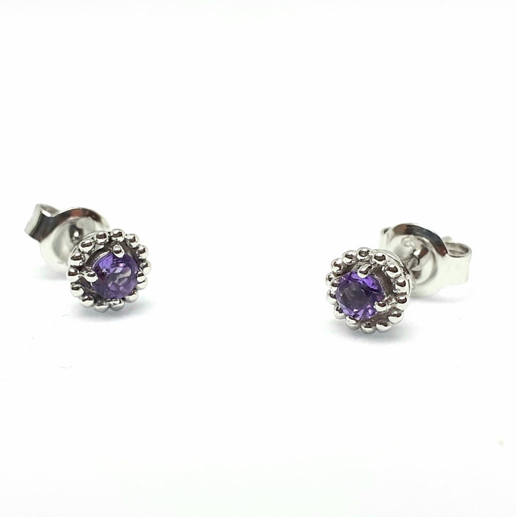 Amethyst Silver Hallmarked Beaded Edge Earrings - Product Code - A590