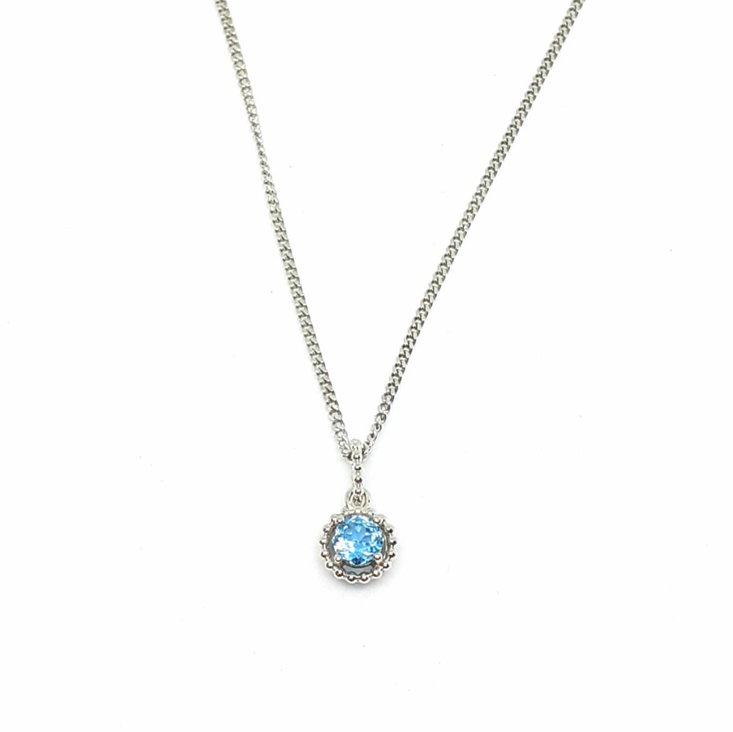 Blue Topaz Silver Hallmarked Pendant - Product Code - A604