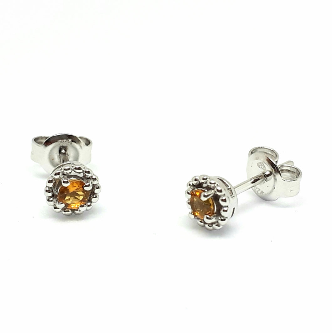 Citrine Silver Hallmarked Beaded Edge Earrings - Product Code - A593