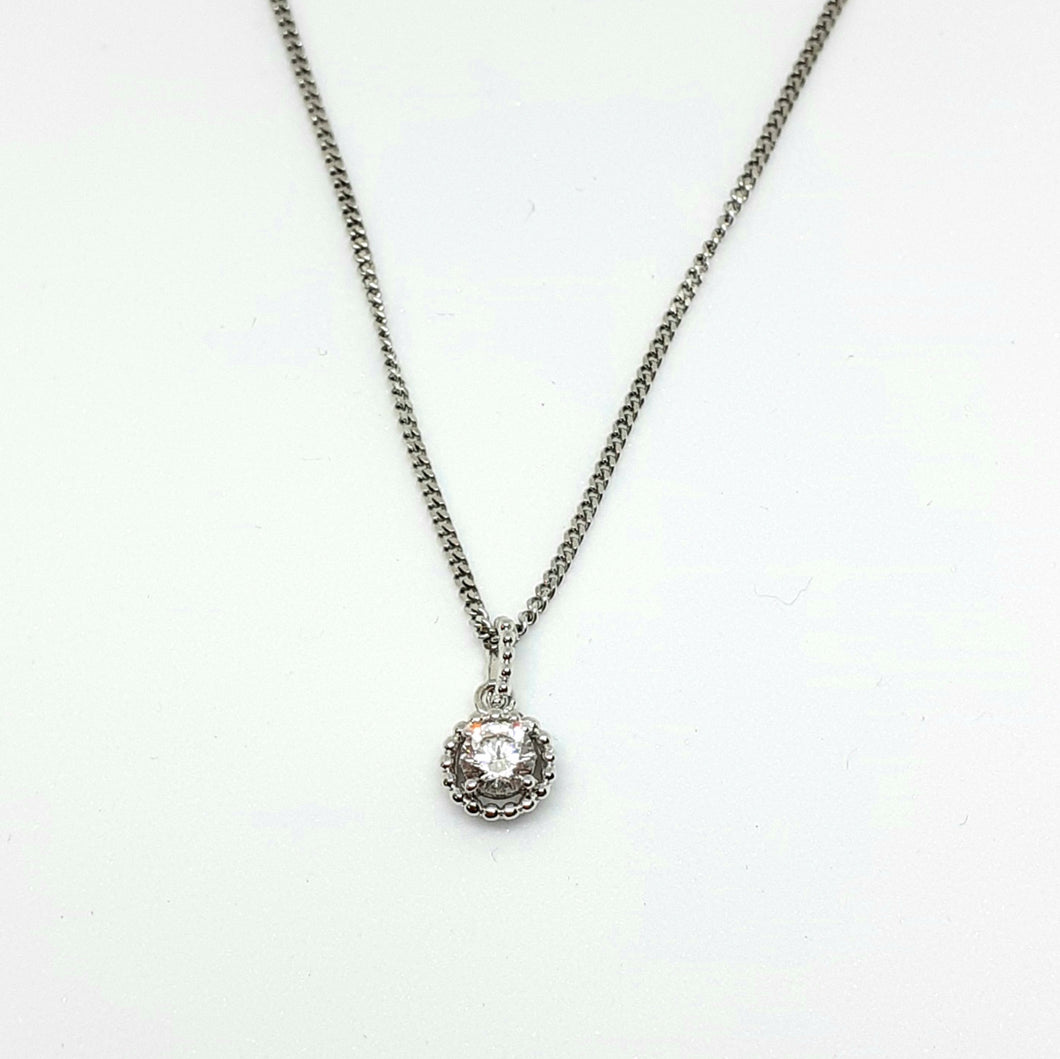Cubic Zirconia Silver Hallmarked Pendant - Product Code - A606