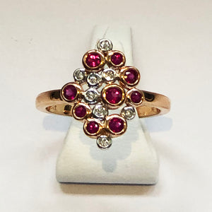 Diamond and Ruby Rose Gold Designer Ring