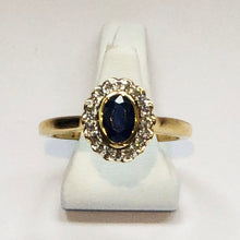 Load image into Gallery viewer, Diamond and Sapphire Yellow Gold Designer Ring