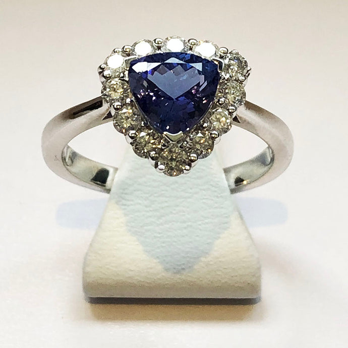 Diamond and Tanzanite Triangle White Gold Ring