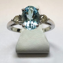 Load image into Gallery viewer, Diamond and Aquamarine White Gold Oval Ring