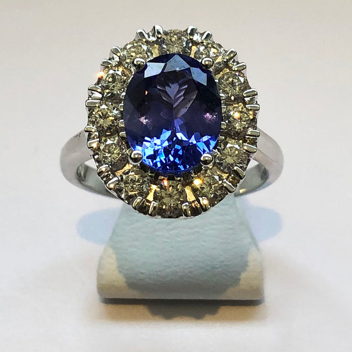 Diamond and Tanzanite White Gold Ring