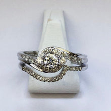 Load image into Gallery viewer, Diamond White Gold Bridal Set - Engagement And Wedding Ring Combo