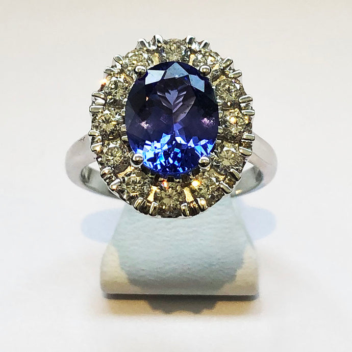 Diamond White Gold Oval Tanzanite Ring