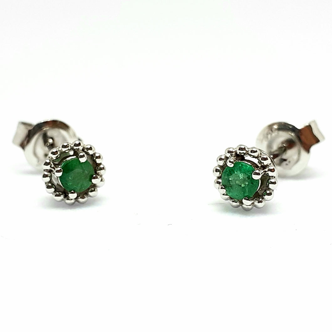 Emerald Silver Hallmarked Beaded Edge Earrings - Product Code - A595