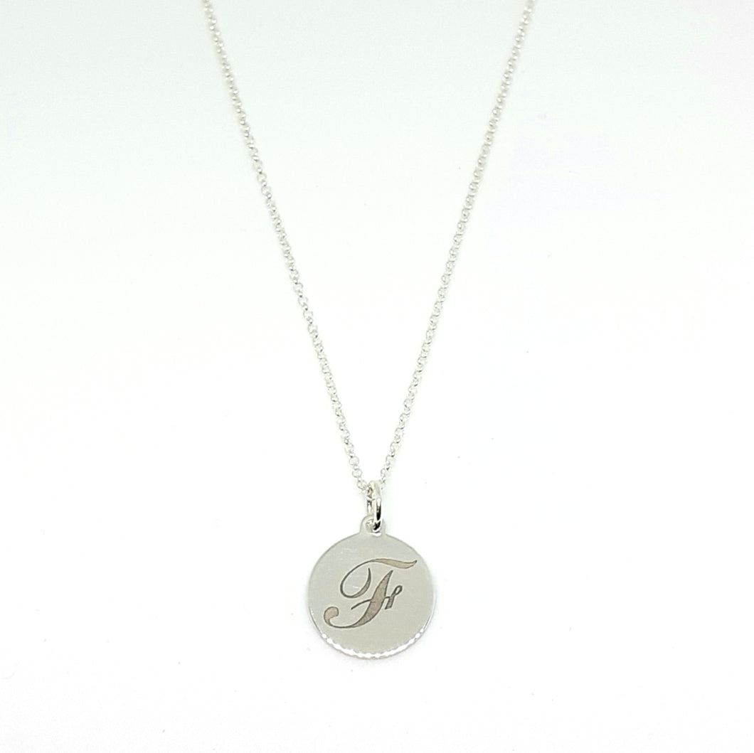 Initial Disk Pendant Hallmarked 925 British Silver On 18