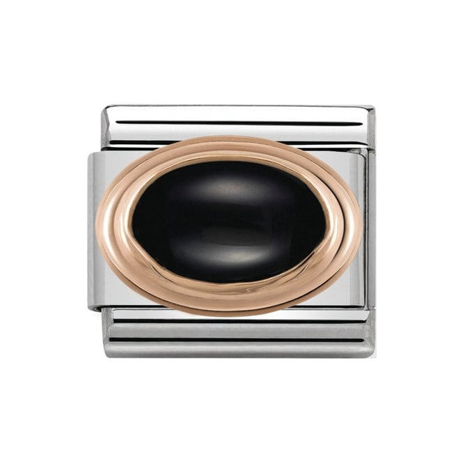 Nomination Rose Gold Black Agate Stone Charm