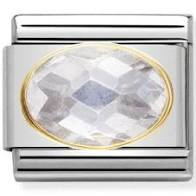 Nomination Yellow Gold Oval Grey Cubic Zirconia Stone Charm
