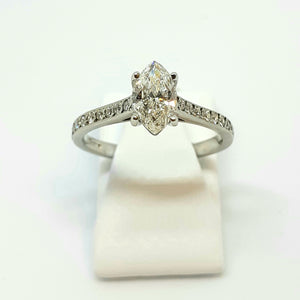 Platinum Handmade Marquise Shaped Diamond Designer Ring - Product Code - WX263