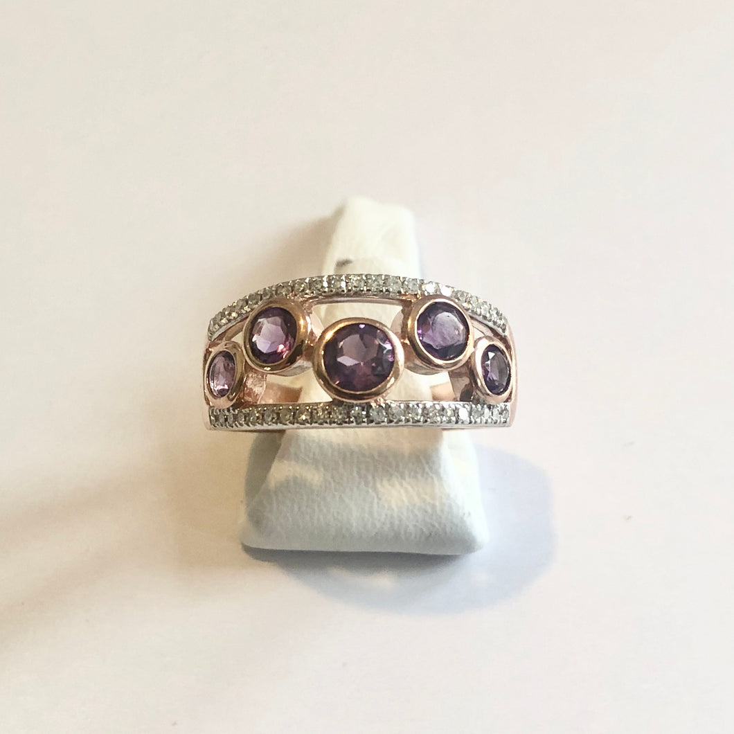 Rose Gold Hallmarked Amethyst & Diamond Band Ring - Product Code - H334