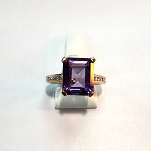 Rose Gold Hallmarked Amethyst & Diamond Ring - Product Code - A311