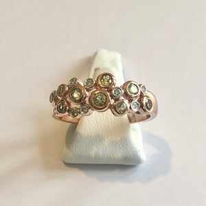 Rose Gold Hallmarked Peridot & Diamond Ring - Product Code - A310
