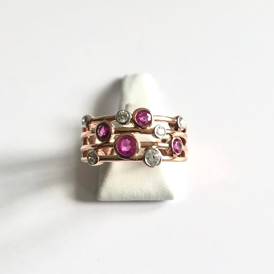 Rose Gold Hallmarked Ruby & Diamond Ring - Product Code - A399