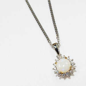 Opal Round Pendant Necklace