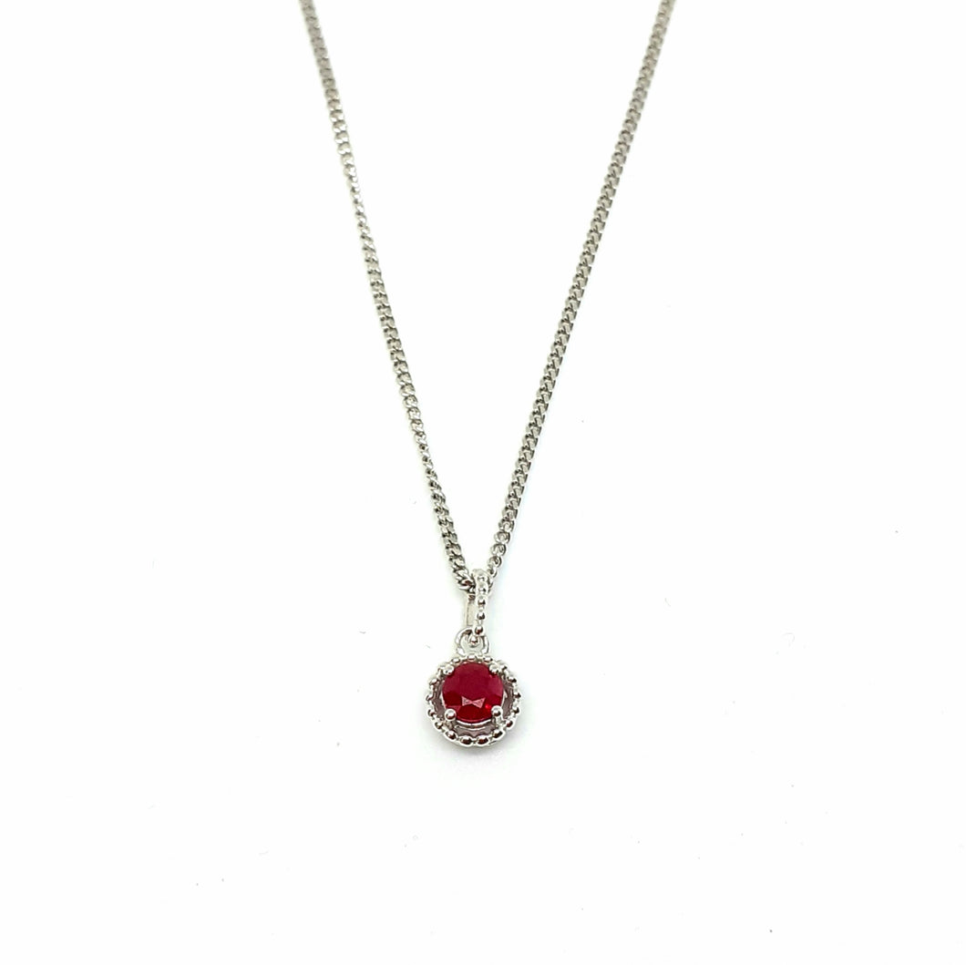 Ruby Silver Hallmarked Pendant - Product Code - A612