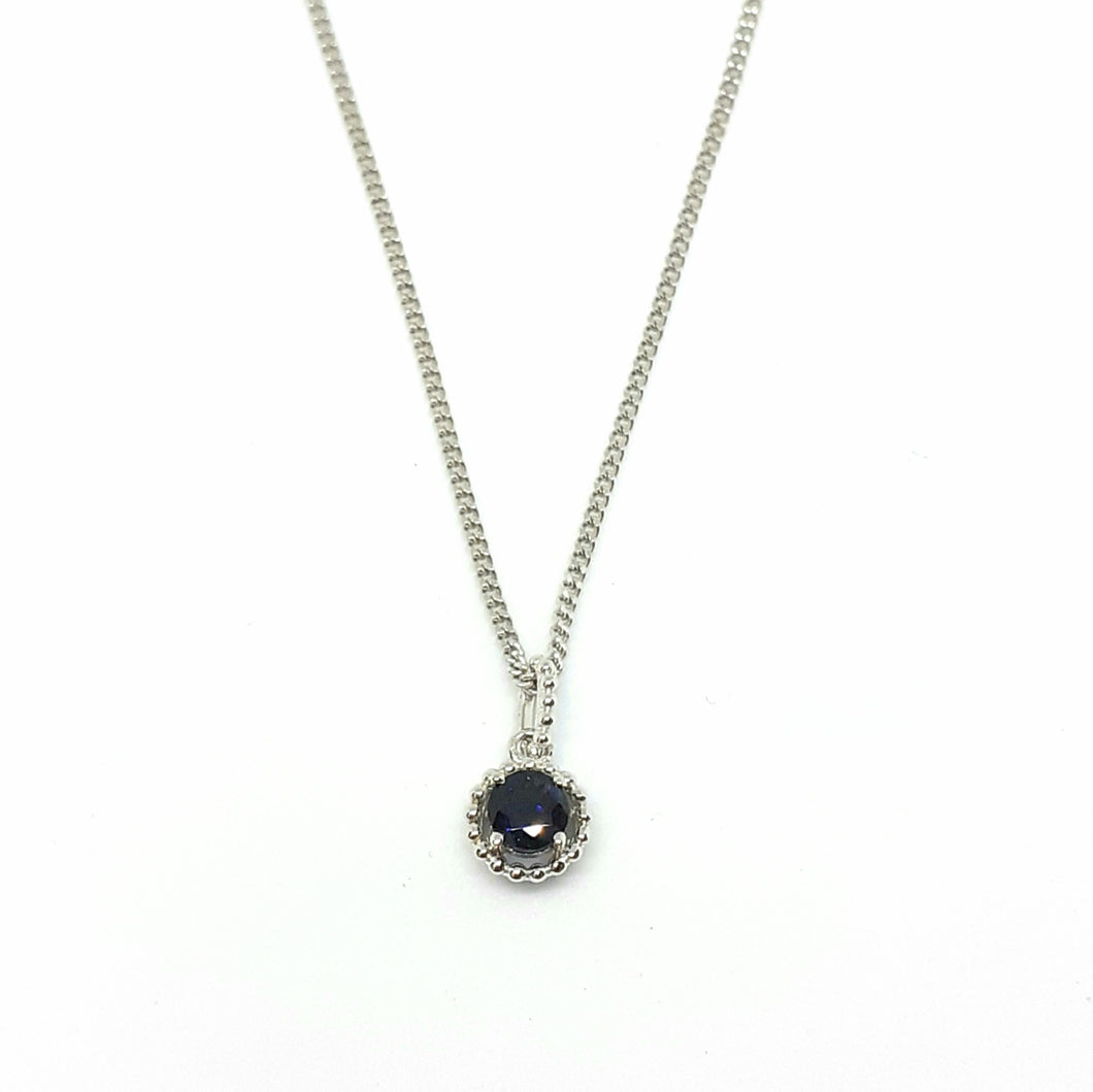 Sapphire Silver Hallmarked Pendant - Product Code - A613