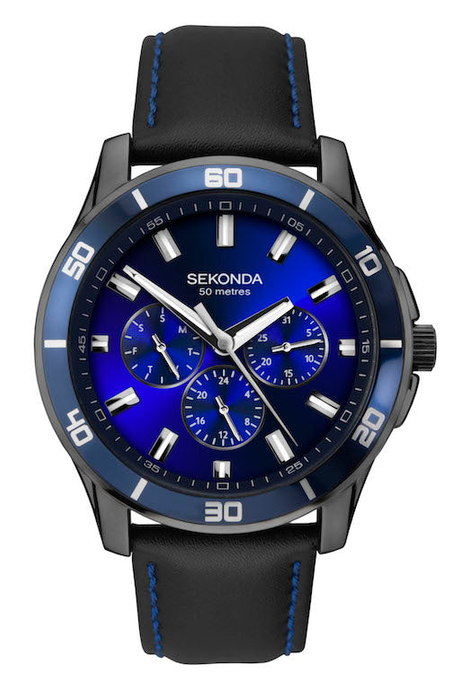 Sekonda Midnight Blue Men's Black Strap Dress Watch - Product Code -1634