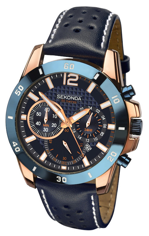 Sekonda Men's Leather Strap Chronograph Watch - Product Code - 1489
