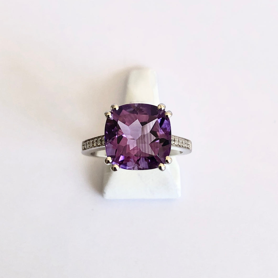 Silver Hallmarked Amethyst Ring - Product Code - A253