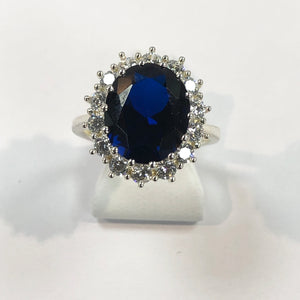 Silver Hallmarked Blue & White Stone Ring Product Code - VX206