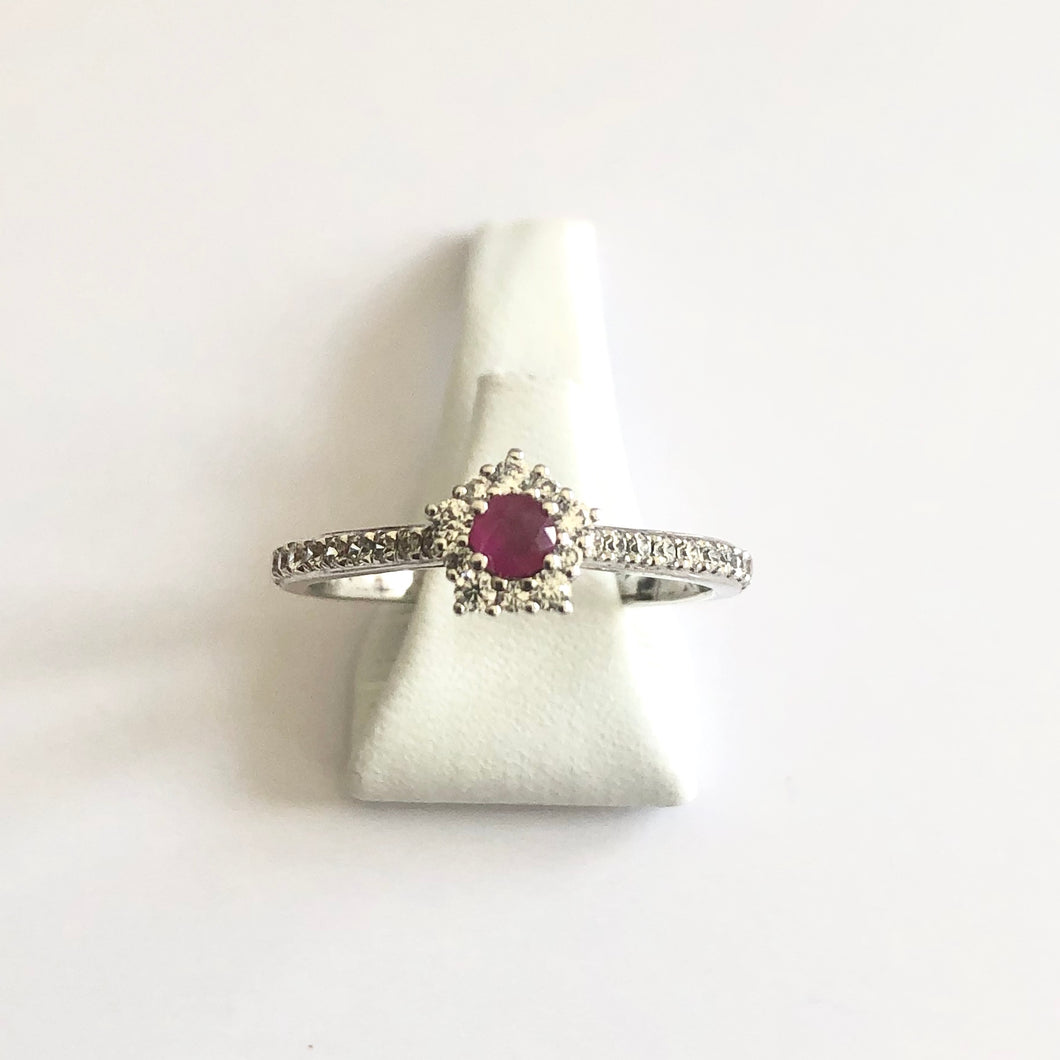 Silver Hallmarked Ruby & Cubic Zirconia Ring - Product Code - A533